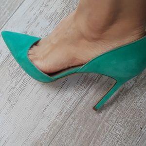 Manolo Blahnik agua green heels